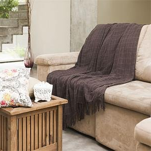 Manta sofa Zwd9 Manta Para sofà Tela Mineira 130x180cm Listrada Marrom E Bege