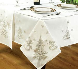 Manteles De Navidad E6d5 Festivo Blanco Plata Manteles Bordado Abeto Campanas Nieve Navidad