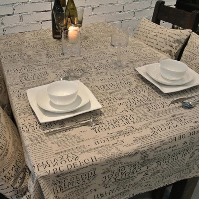 Manteles De Plastico Budm European Style Letter Linen Tablecloths High Quality Table Cloth