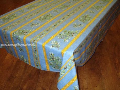 Manteles Plastificados Etdg Mantel De Algodà N Plastificado Modelo Clos Des Oliviers Azul