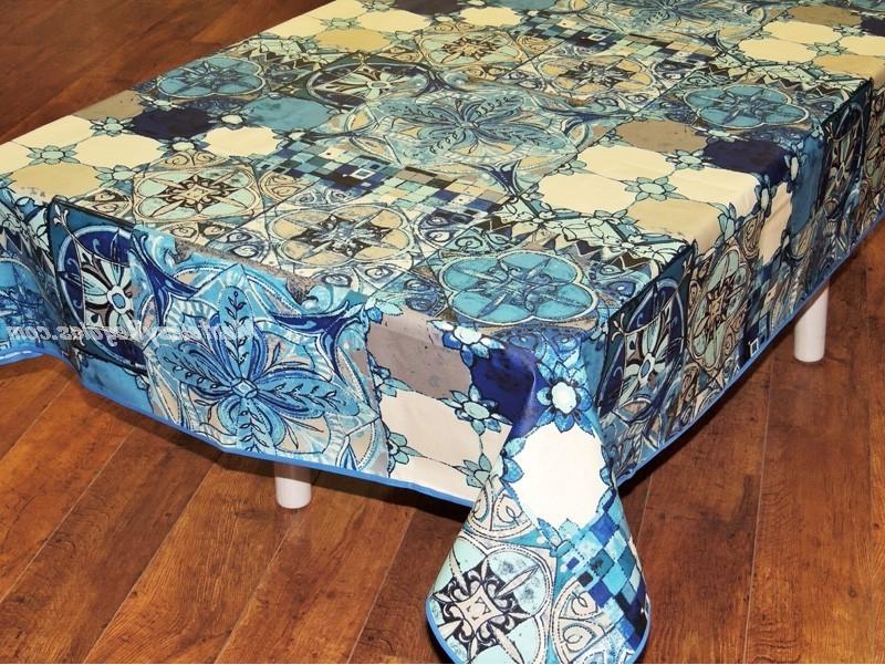 Manteles Plastificados Tldn Mantel Algodà N Plastificado Modelo Azulejos Azul