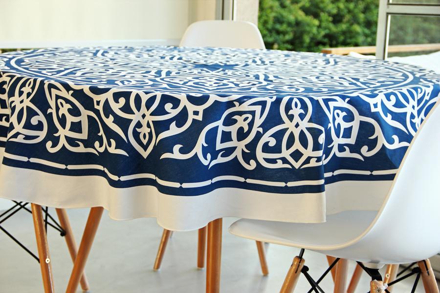 Manteles Redondos 9ddf Mantel Redondo 180 Cm Arabe Azul En Potiers Home
