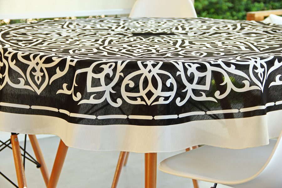 Manteles Redondos Xtd6 Mantel Redondo 180 Cm Arabe Negro En Potiers Home