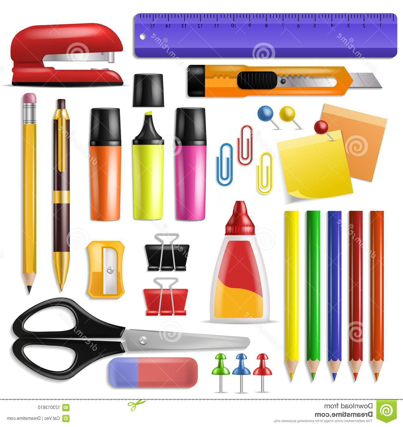Material De Escritorio Thdr Office Supply Vector Stationery School tools Icons and