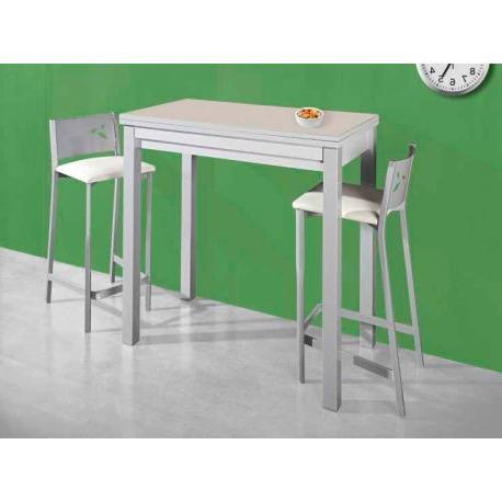 Mesa Alta De Cocina Dddy 669 Mesa De Cocina Extensible De 110 X 70 Cm Color Blanco Aluminio