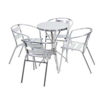 Mesa Aluminio Ffdn Mesa De Alumà Nio 60 Cm X 60 Cm Redonda 4 Cadeiras Master