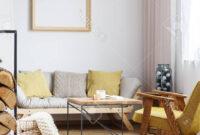 Mesa Auxiliar sofa 9ddf Esquina De Apartamento Con sofà Beige Sillà N De Mostaza Y Una Mesa
