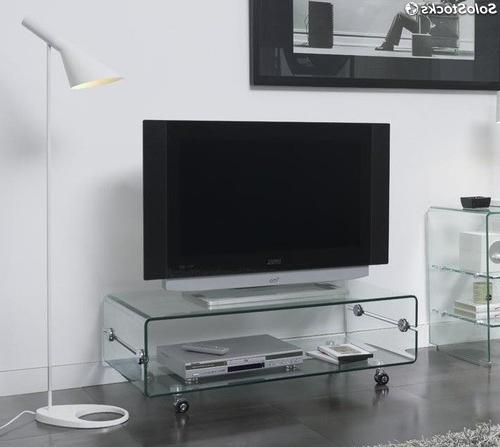 Mesa Auxiliar Tv Ruedas E9dx Mesa Tv Cristal Con Ruedas 100x50 Ct 220