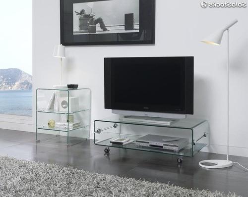Mesa Auxiliar Tv Ruedas Mndw Mesa Tv Cristal Con Ruedas 100x50 Ct 220