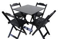 Mesa Bar Txdf Conjunto Bar Dobrà Vel Mesa 70 X 70 Cm 4 Cadeiras Dobrà Veis De Madeira Cor Preto Flex Mesas Flex Mesas E Cadeiras