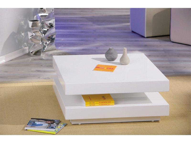 Mesa Centro Blanca Xtd6 Mesa De Centro Giratoria De formato Cuadrado En Color Blanco