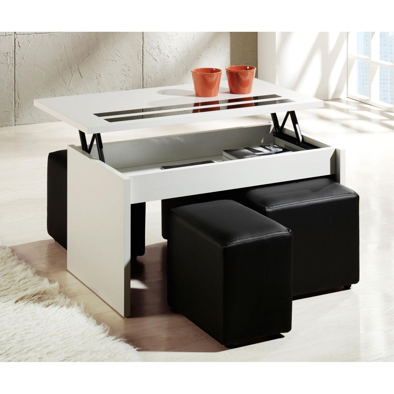 Mesa Centro Puff 0gdr Mesa Con Puffs Elevable De Color Blanca 101 Cm De Ancho Ahorro total