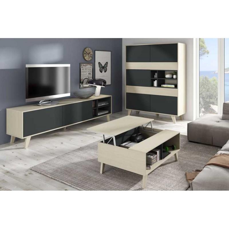 Mesa Centro Salon 3ldq Conjunto Salà N Vitrina Mueble Television Y Mesa Centro