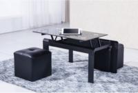 Mesa Centro Salon 4pde Mesa De Centro Negra Elevable Metalica Con Cristal Negro De Salon O