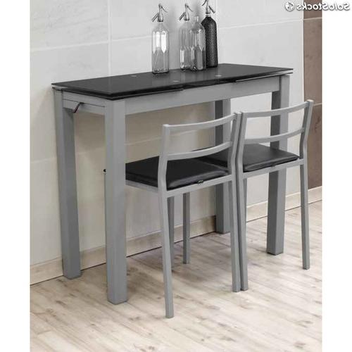 Mesa Cocina Con Taburetes Ftd8 Conjunto Mesa Extensible De Cocina Espa Y 2 Taburetes Gran Negra