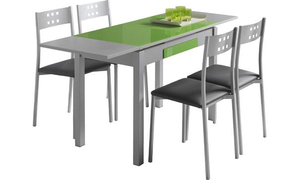 Mesa Cocina S5d8 Mesa De Cocina Wing Extensible Niquel Y Cristal Verde Muebles