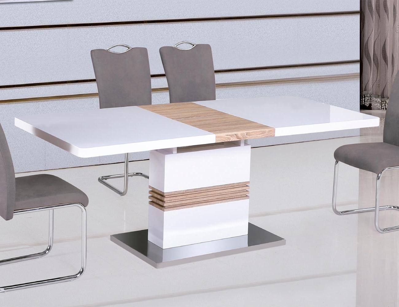 Mesa Comedor Blanca Extensible Y7du Mesa Edor Extensible En Blanco Lacado Con Cambrian Y Base Acero
