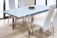 Mesa Cristal Templado Nkde Mesa Para Edor O Salon Rectangular Extensible De Cristal Templado Color Blanco 120 200x90x78 Cm
