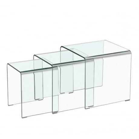 Mesa Cristal Templado S1du Set 3 Mesas Nido Cristal Templado Muebles Room