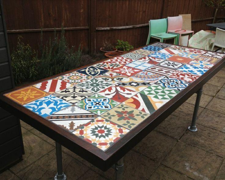 Mesa De Azulejos Para Jardin Dddy Table De Jardin Avec Carreaux De Ciment Garden Table with