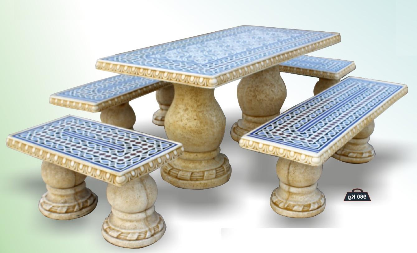 Mesa De Azulejos Para Jardin Q5df Conjunto De Mesa Edor Rectangular Y Bancos Para Jardin O Exterior