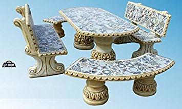 Mesa De Azulejos Para Jardin Txdf Conjunto De Mesa Edor Alargada Y Bancos Con Respaldo Para Jardin