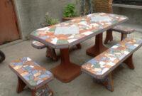 Mesa De Azulejos Para Jardin Whdr Juego De Jardin De Cemento Con Azulejos Merlo Alamaula