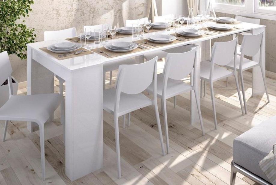Mesa De Comedor Barata O2d5 Mesa Consola Extensible Moderna Y Barata De 51 Cm A 239 Cm En Blanco Brillo