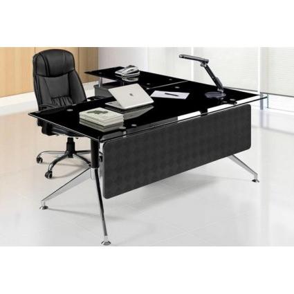 Mesa De Despacho 87dx Mesa Oficina Cristal Negro 180×85 Cms De Sdm Gort 180d