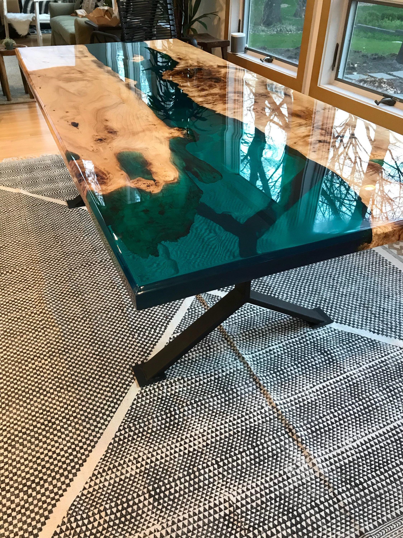 Mesa De Resina J7do Mesa De Resina Turquesa Etsy Creative Wood Table