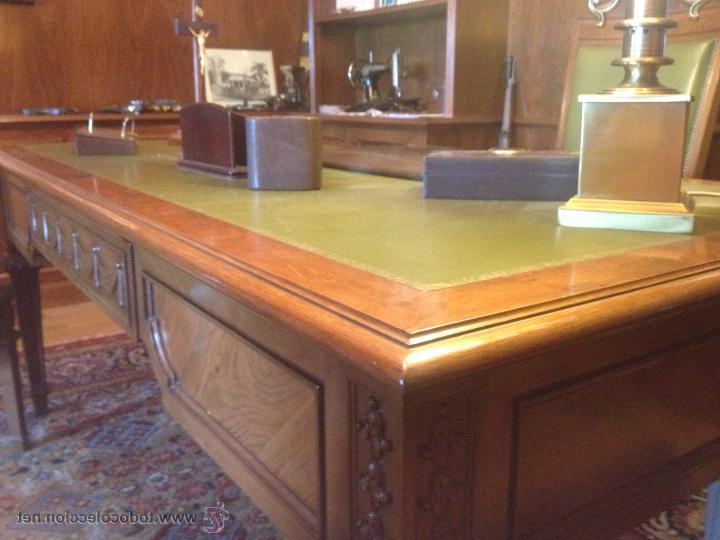 Mesa Despacho Segunda Mano Mndw Mesa Despacho De Nogal Y Cuero Verde Con Sillas Prar Mesas De