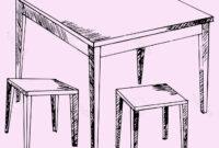 Mesa Dibujo 4pde Mesa Y Sillas Cocina Estilo De Dibujo Ilustracià N Boceto