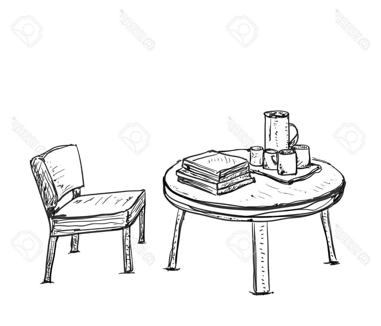 Mesa Dibujo 87dx Muebles En Cafà Del Verano Silla Y Mesa De Dibujo Ilustraciones