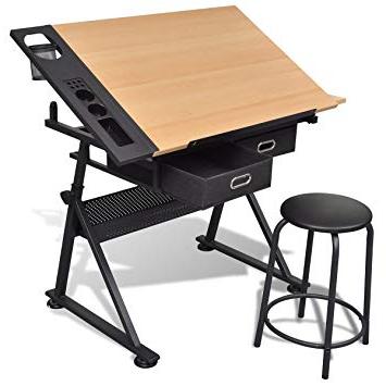 Mesa Dibujo E6d5 Vidaxl Mesa Con Tablero Inclinable Y Taburete Mueble Oficina Mesa De