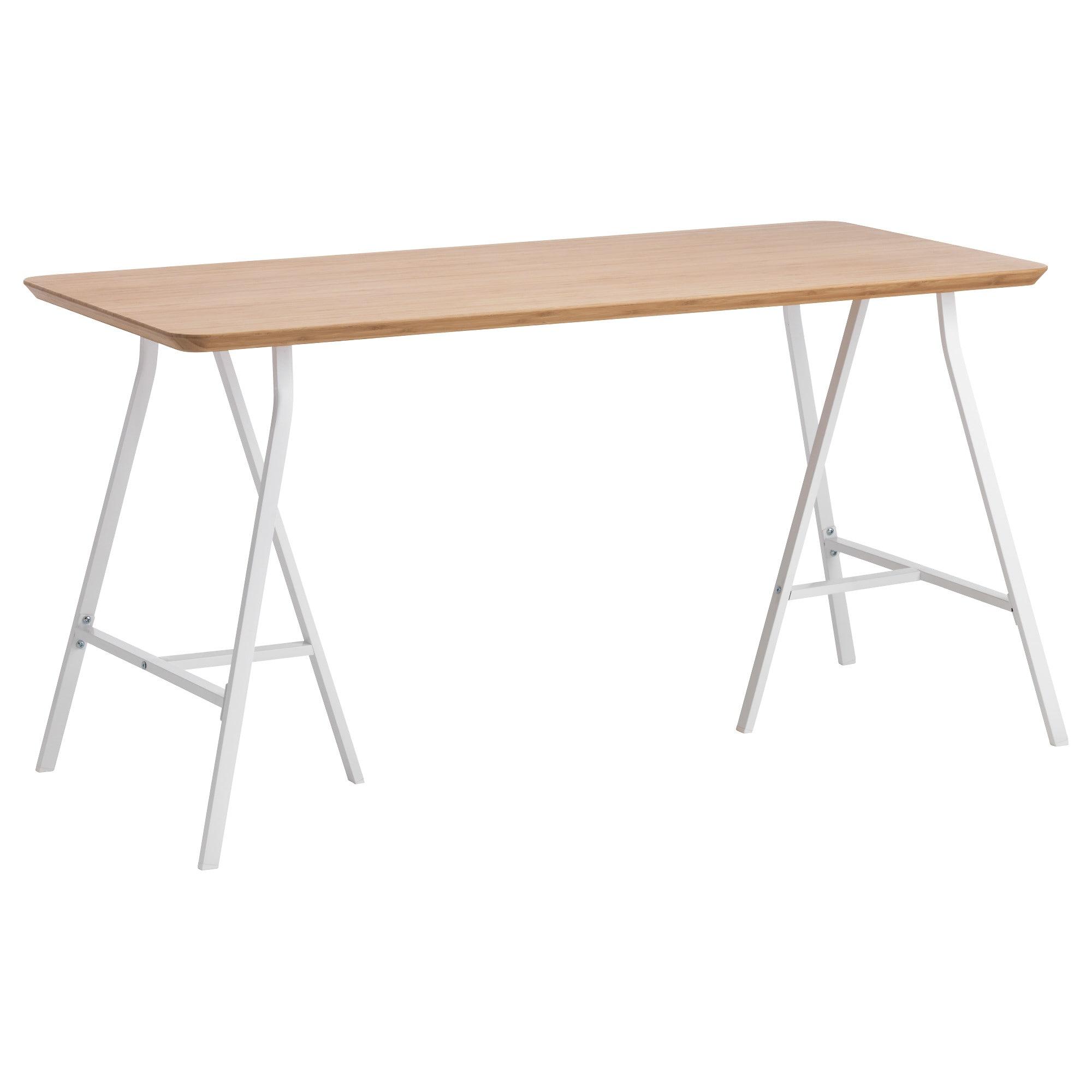 Mesa Escritorio Tldn Lerberg Hilver Mesa Bambú Blanco 140 X 65 Cm Ikea