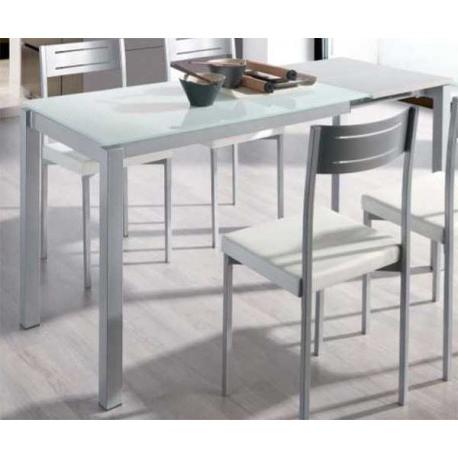 Mesa Extensible Cristal Gdd0 Mesa Extensible Edor O Cocina Cristal Blanca Color Blanco