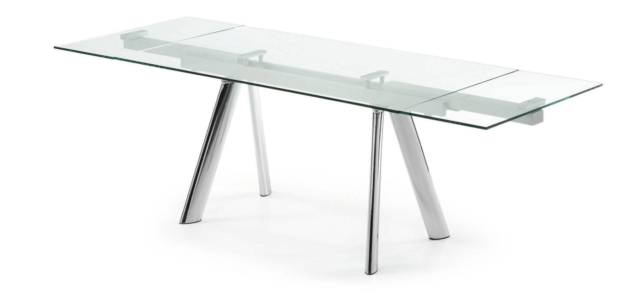 Mesa Extensible Cristal S5d8 Mesa Extensible De Cristal Transparente Y Acero Cromado Bianchi