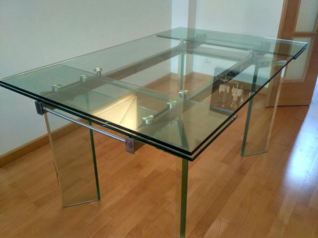Mesa Extensible Cristal X8d1 Mesa Extensible Edor Con Cristal Trasparente De Segunda Mano Por