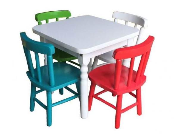 Mesa Infantil Tldn Jogo De Mesa Infantil 4 Cadeiras Coloridas Disa MÃ Veis MÃ Veis
