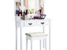 Mesa Maquillaje Tldn Langria tocador Mesa Maquillaje Con Espejo Plegable 3 Piezas 4
