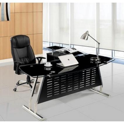 Mesa Oficina Nkde Mesa Oficina Cristal Negro Ala Derecha 180x85 Cms De Sdm Evian D180