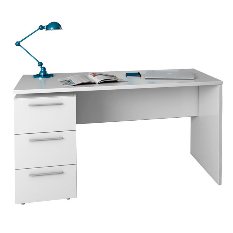 Mesa ordenador Blanca 4pde Mesa Y Estanteria Reversible En Blanco Alpes