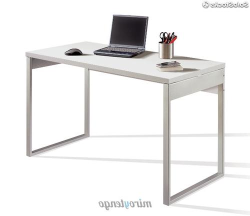 Mesa ordenador Blanca Ffdn Escritorio Color Blanco Brillo Y Patas Metà Licas Mesa De Oficina O