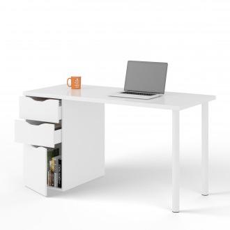 Mesa ordenador Blanca Mndw Mesa Escritorio Reversible West Con Cajones Melamina Blanca