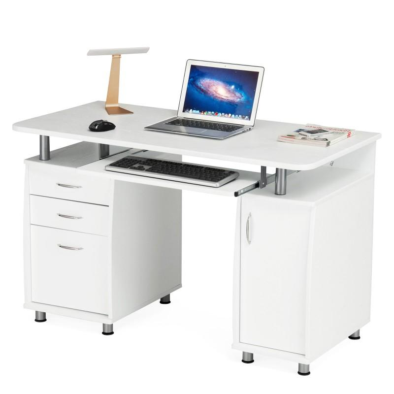 Mesa ordenador Blanca Mndw songmics Mesa De ordenador Con 3 Cajones Escritorio De Oficina