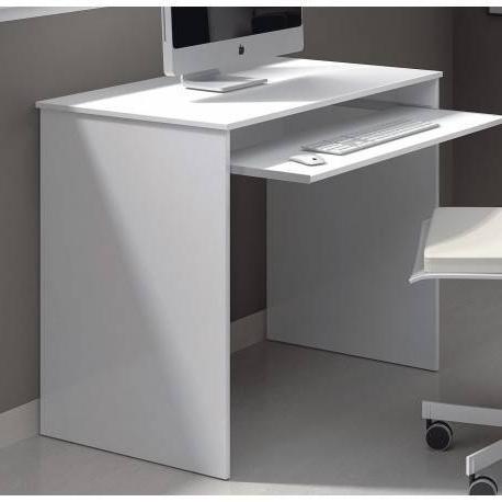 Mesa ordenador Blanca Qwdq Mesa Estudio Y ordenador Color Blanco Brillo De 90x60 Cm Y Bandeja