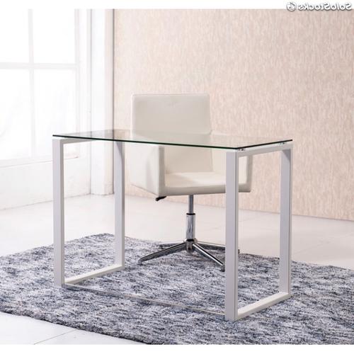 Mesa ordenador Blanca S1du Mesa De ordenador Blanca De Cristal Escritorio Blanco 100cm Oficina