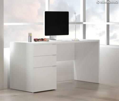 Mesa ordenador Blanca X8d1 Mesa De ordenador Blanca Escritorio Blanco 3 Cajones Y 140cm Ancho