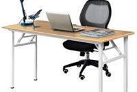 Mesa Plegable Estudio Tldn Dlandhome Escritorios Mesa Plegable De ordenador Escritorio De Oficina Mesa De Estudio Puesto De Trabajo Mesa De Despacho 120x60cm Teca Blanco