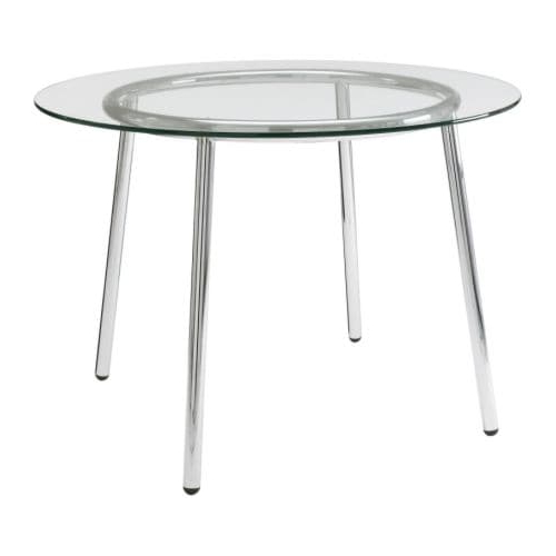Mesa Redonda Cristal Ikea Irdz Salmi Mesa Vidrio Cromado 105 Cm Ikea